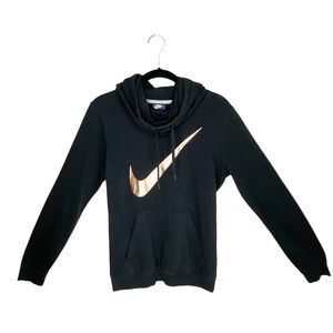 Nike Black Funnel Neck Metallic Swoosh Hoodie S